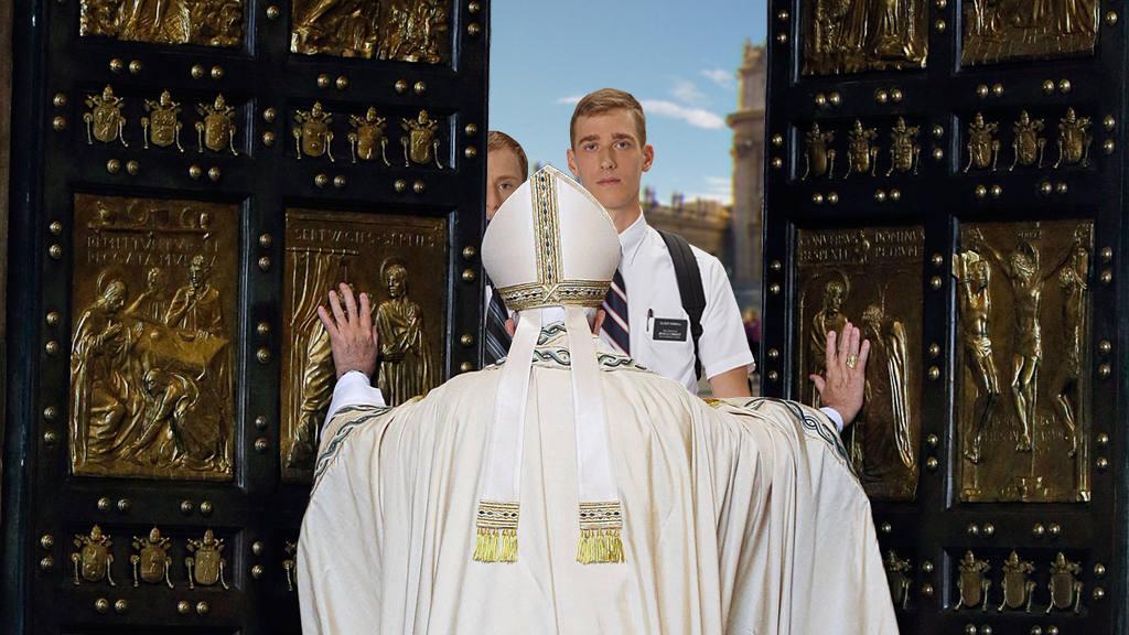 mormones - Una pareja de mormones llama al timbre del Vaticano para dejar unos folletos