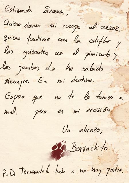 La carta en la que el animal se despide de Susana.